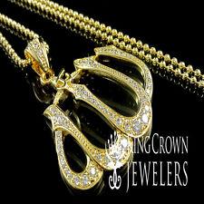 YELLOW GOLD FINISH LAB DIAMOND ARABIC ALLAH GOD CHARM PENDANT CHAIN NECKLACE SET
