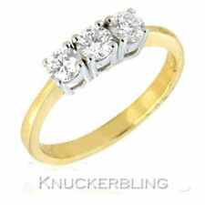 Natural Not Enhanced Three-Stone Yellow Gold Fine Rings