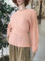 Vintage 80s Does 40s Pastel Pink Sweater Jacquard Wool Fitted Small
