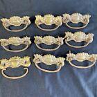 Antique Drop Handle Pulls Dresser Desk Drawer Ornate Pressed Metal 8 Complete