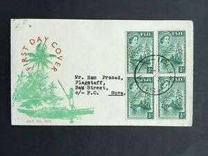 FIJI 1954 1/2d GREEN FDC COVER POSTED INTERNALLY