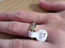 New ~ Unisex ~ Stainless Steel ~ Gold Zircon ~ Ring ~ Size 18mm