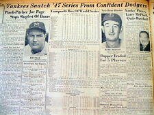 <7 1947 newspapers NEW YORK YANKEES WIN WORLD SERIES Brooklyn Dodgers  BASEBALL
