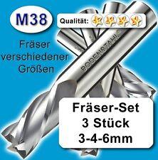 Fräser-Set 3+4+6mm für Metall Kunststoff Holz etc. M38 vergl. HSSE HSS-E Z=2