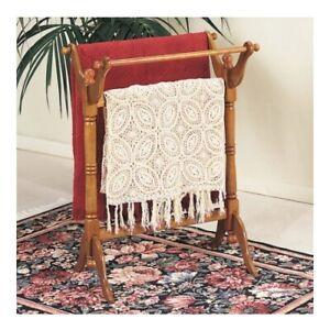 Vintage Oak Finish Wooden Quilt Rack Stand Blanket Bedspread Storage Display
