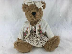 TEDDY BEAR - SETTLER BEAR - 27 CM CROCHETED DRESS & APPLIQUE JACKET
