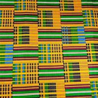 African Print Kente Cloth Cotton Fabric Wax Dyed Brilliant Gold Black Green Blue