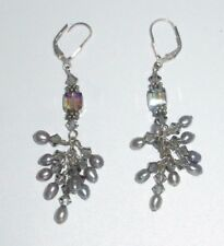 Silver 925 Dangle Drop Earrings Crystal Imitation Gray Pearl Dangle Beaded Chain