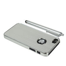 Luxury Chrome Silver Hard Cell Phone Case Cover For iPhone 5 5S + Stylus Pen