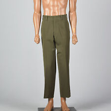 M 1950s Mens Pants Olive Crease Front Rockabilly Work Trousers Zip Fly 50s VTG