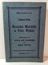 Niagara Machine & Tool Works tools brochure, Buffalo, New York; circa 1920s