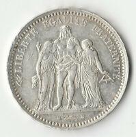 FRANCE Pièce de 5 FRANCS 1873 A PARIS HERCULE - argent 900% - 25 g.