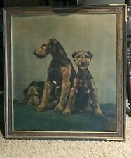 Airedale Terrier Large Antique Framed Artwork by German Artist Otto D. Franz