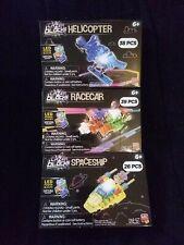 3 Lazer Blocks Light-up Led Power Blocks Sets-Helicopter, Spaceship & Racecar
