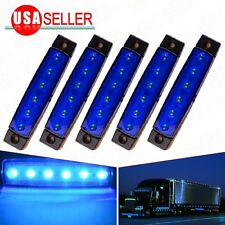 5x Bus Van Truck Clearance Trailer Side Marker Indicators Lights Blue 6-LED 12V