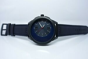Vive Uhr Armbanduhr Neu Edelstahl Leder Schwarz Blau
