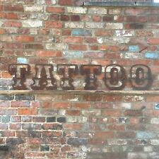 Rustic TATTOO letter Sign Rusty Metal vintage Shop parlour Shave Barbers Artist