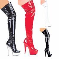 Ellie Shoes 6 Inch Stiletto Heel Thigh High Platform Stretch Boots