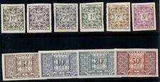 MONACO #J28-33, 35-8, Postage Dues, IMPERFORATE, og, VLH, VF