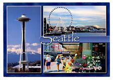 Seattle Washington Postcard Great Wheel Space Needle Pike Place Market Stadiums