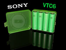 4 SONY VTC6 18650 3000mAh High Drain Flat Top Rechargeable Battery / Green Case