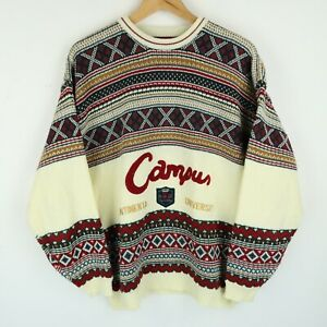 Vintage 90'S Mens Crazy Patterned Cosby Sweater Jumper SZ Large (E9405)