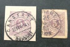 Germany-1885-Two 5pf Stationary Cut Outs