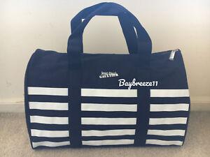 NWT Jean Paul Gaultier Le Male Navy & White Canvas Weekend Duffle Beach Gym Bag