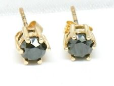 9ct Gold 9K Gold 0.50ct Black Diamond Solitaire Stud Earrings