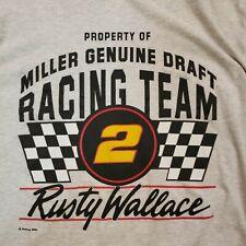Vintage Nutmeg Mills Rusty Wallace Miller Genuine Draft T-shirt Size Large