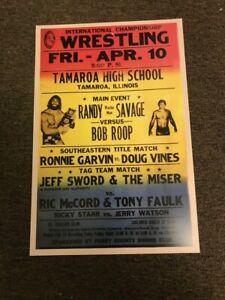 "Vintage 70's-80s ICW Wrestling Promo Poster Macho Man Randy Savage 12""x18"""