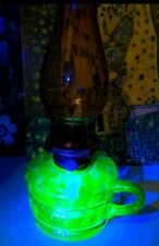 More details for vintage antique uranium glass vaseline amber green opalescent oil finger lamp