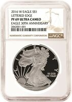 2016 W 1oz Silver Eagle Proof NGC PF69 Ultra Cameo - Brown Label