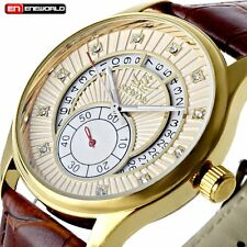 Classic Men Steampunk Skeleton Gold Dial Mechanical Stainless Steel Watch New