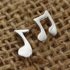 Women Lovely Music Notes 925 Silver Drop Stud Earrings Fashion Jewelry