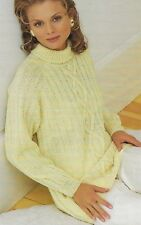 "Ladies Raglan Sweater Knitting Pattern with Cables loose fit DK 32-42"" 1168"