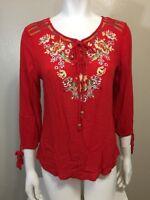 Luna Moon Red Tunic Boho Embroidered Medium