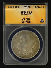 1893-CC Morgan Silver Dollar ANACS VF-30 Details Cleaned -154254