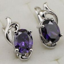 Awesome Purple Amethyst Oval Gems Jewelry Gold Filled Huggie Lady Earrings H1742