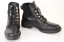 Aquatalia black 9 leather suede quilted lace up round toe ankle boot shoe $650