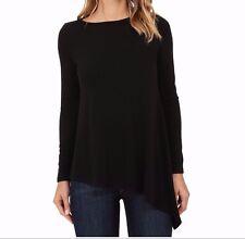 KAREN KANE ~ Asymmetrical Hem Long-Sleeve Lightweight Sweater  ~ Black ~ Small