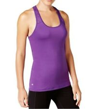 Ideology New Womens Perforated Performance Racerback Tank Top, Purple, X-Large