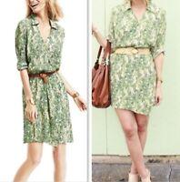 CAbi #280 Faux Wrap Dress Small S Green Tan Hawaiian Tropical Floral Leaf Print