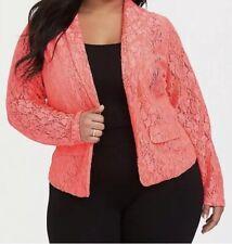 Torrid Neon corarl pink structured fit blazer 1x