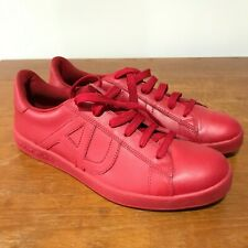 ARMANI JEANS RED LEATHER TRAINER SHOES LACE UP UK SIZE 8.5
