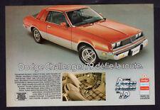 1979 DODGE Challenger Vintage Original Print AD - Red car photo coupe 2-door