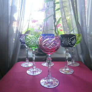 6 Bicchieri Roemer IN Cristallo Di Bohème IN Colore H 19,2 CM