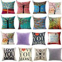 Cotton Linen Square Home Decorative Throw Pillow Case Sofa Waist Cushion ·Cover