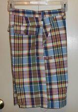 Arizona Boys Flat Front Plaid Shorts Multi Plaid 12R NWT