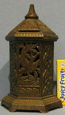 NOW ON SALE, ORIG OLD ORNATE SPACE HEATER CAST IRON TOY BANK W/BIRD DESIGN BK808